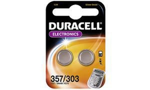 "Duracell SilberOxid Knopfzelle ""Electronics"", 2er Set, 357/303"