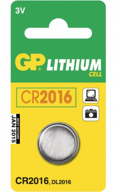 GP Lithium Knopfzelle, 1er Set, Typ CR2016