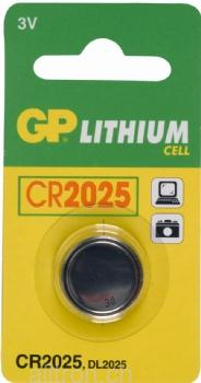GP Lithium Knopfzelle, 1er Set, Typ CR2025