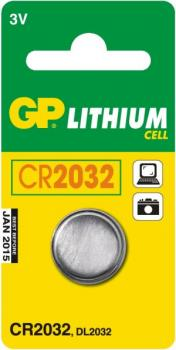 GP Lithium Knopfzelle, 1er Set, Typ CR2032